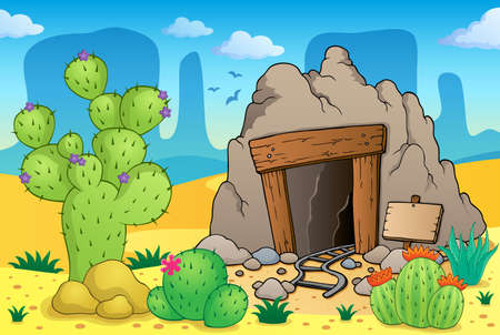 Desert with old mine theme 1 - eps10 vector illustration Stock Vector - 25097857
