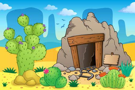 mine site: Desert with old mine theme 1 - eps10 vector illustration