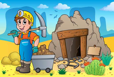 古い鉱山をテーマにした砂漠