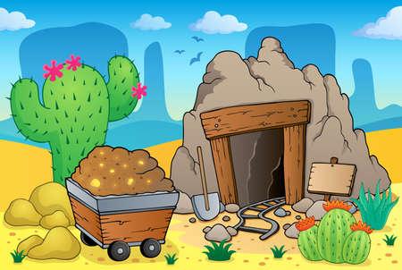 kopalni: Pustynia z motywem starej kopalni Ilustracja