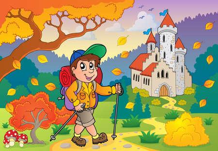 Hiker walking on path near castle Vector