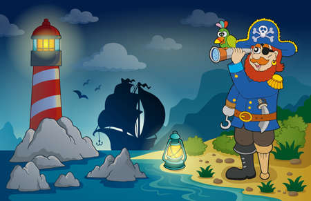 spyglass: Lighthouse with pirate theme