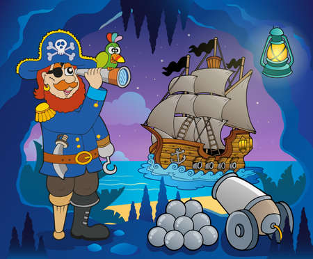 Pirate cove theme image  Vector