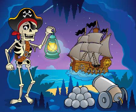 kopftuch: Piraten-Bucht Bild Thema Illustration