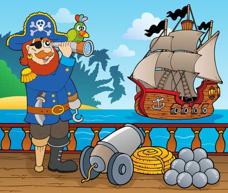 Piratenschip dek onderwerp Vector Illustratie