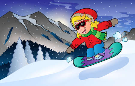 mountainside: Winter mountain sport theme Illustration