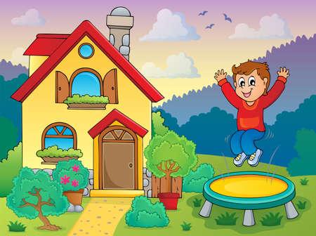 Boy playing near house theme