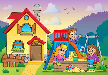 outside the house: Children playing near house theme   Illustration