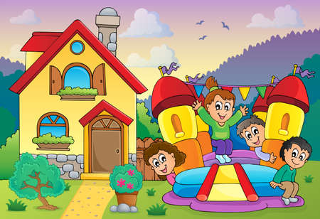 Children playing near house theme   Vector