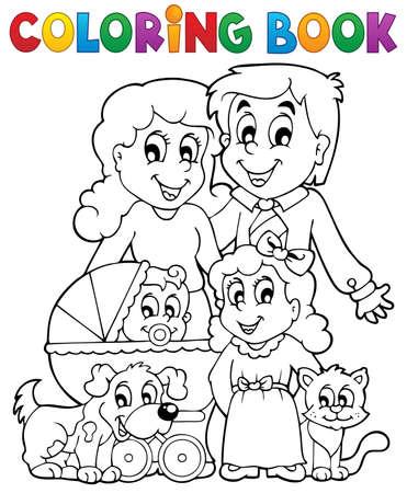 perro familia: Tema de la familia Libro para colorear