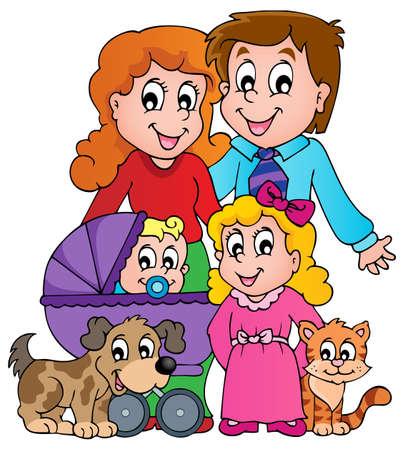 animals together: Family theme image       Illustration