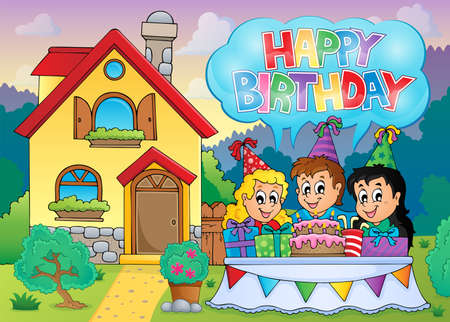 english countryside: Kids party near house   Illustration