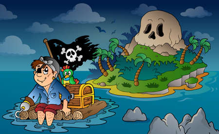 isla del tesoro: Tema con la calavera pirata isla