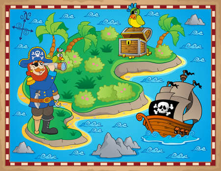 carte trésor: Carte au trésor image sujet Illustration