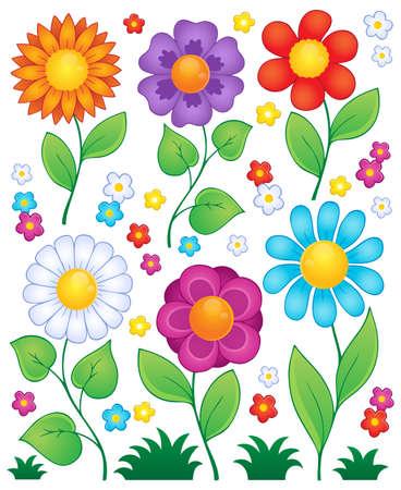 Cartoon bloemen collectie 3 - vectorillustratie eps10