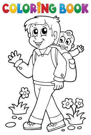 Coloring book father with child 1 - eps10 vector illustration  Vector
