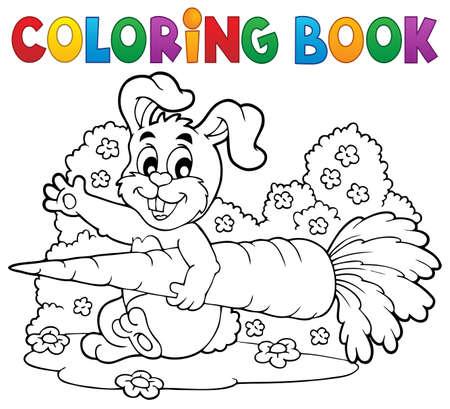 Coloring book rabbit theme 4 - eps10 vector illustration