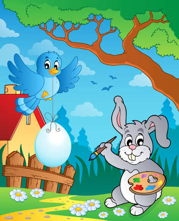 Easter bunny topic image 8 - eps10 vector illustration  Vector