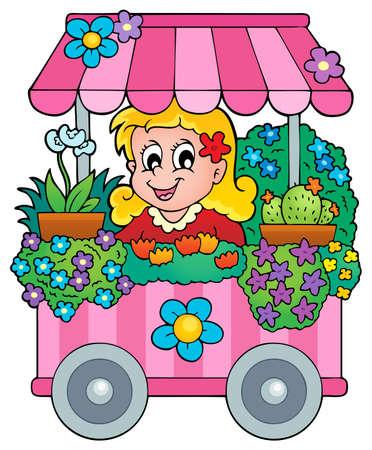 plant stand: Flower shop theme image 1 - eps10 vector illustration