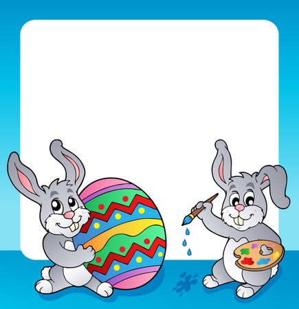 topic: Frame with Easter bunny topic 3 - eps10 vector illustration  Illustration