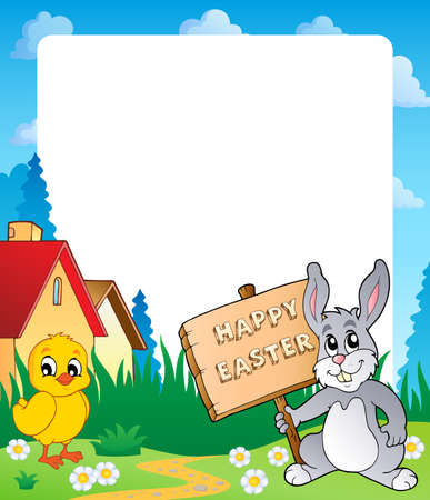 topic: Frame with Easter bunny topic 7 - eps10 vector illustration
