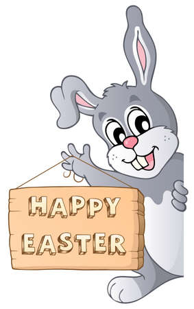 lurking: Happy Easter sign and lurking bunny - eps10 vector illustration