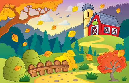 grainery: Autumn farm landscape 1 - eps10 vector illustration