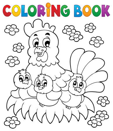 Coloring book chicken theme Vector