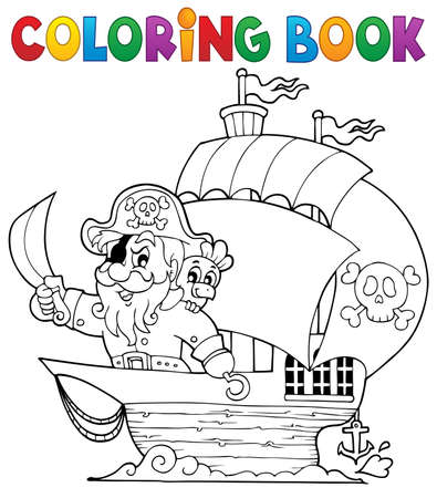 Coloring book ship with pirate Vector