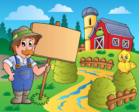 Farmer theme image Vector