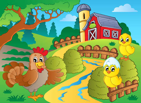 farmyard: Farm theme with hen and chickens Illustration