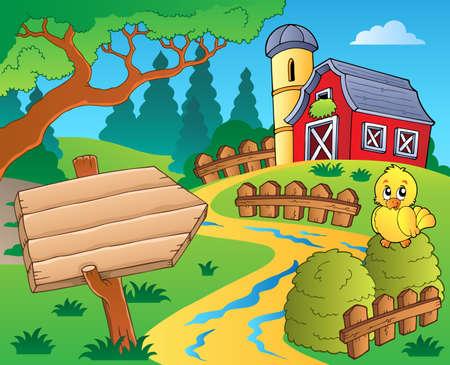 barn wood: Farm theme with red barn Illustration