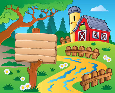 Farm theme with red barn Vector