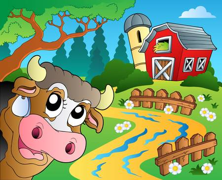 red barn: Farm theme with red barn Illustration