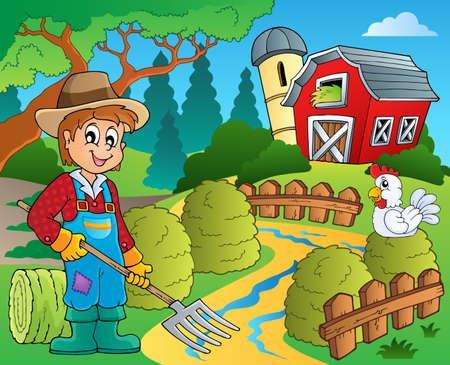 farmstead: Farm theme with red barn Illustration
