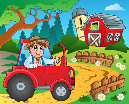 farm tractor: Farm theme with red barn  Illustration