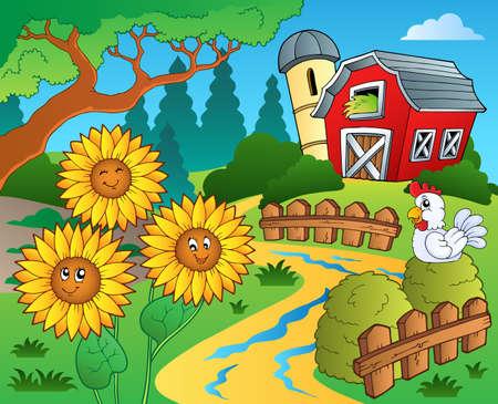 Farm theme with sunflowers - eps10 vector illustration