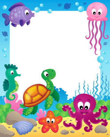Frame with underwater animals  Vector