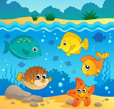 puffer fish: Underwater ocean fauna theme