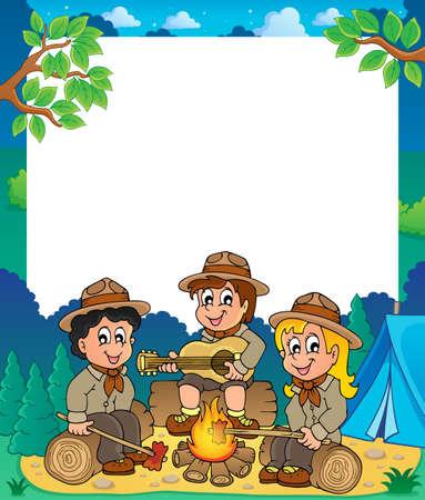 esploratori: I bambini scout cornice tematica 1 - illustrazione vettoriale eps10