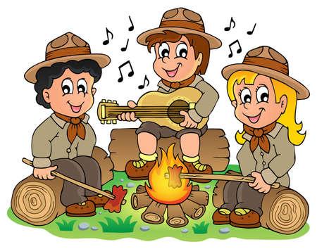 Дети разведчики тему изображение 1 - eps10 векторные иллюстрации