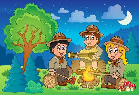 esploratori: Eps10 illustrazione vettoriale - immagine Tema 2 bambini scout