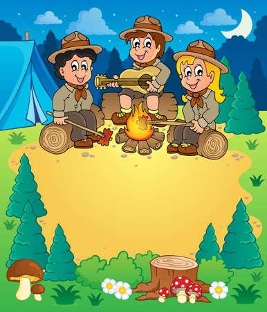 esploratori: Eps10 illustrazione vettoriale - tema immagine 3 bambini scout