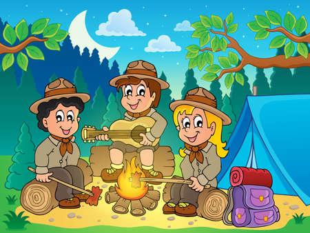 esploratori: Eps10 illustrazione vettoriale - theme image 4 bambini scout Vettoriali