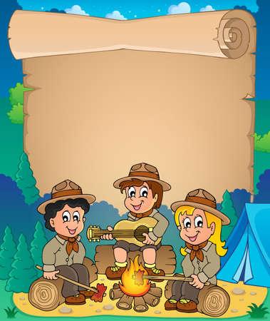 esploratori: I bambini scout tema pergamena 1 - illustrazione vettoriale eps10 Vettoriali