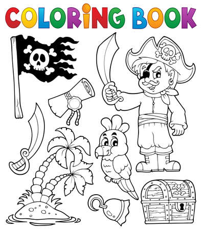 Coloring book pirate thematics 1 - eps10 vector illustration  Vector