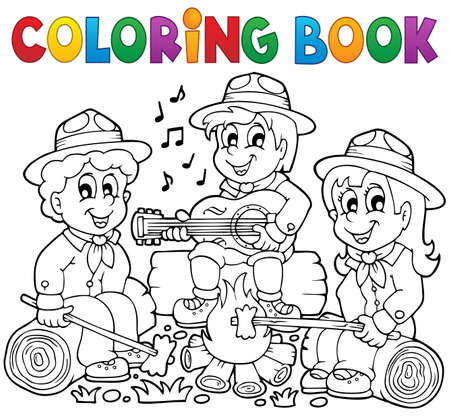Coloring book scouts theme 1 - eps10 vector illustration