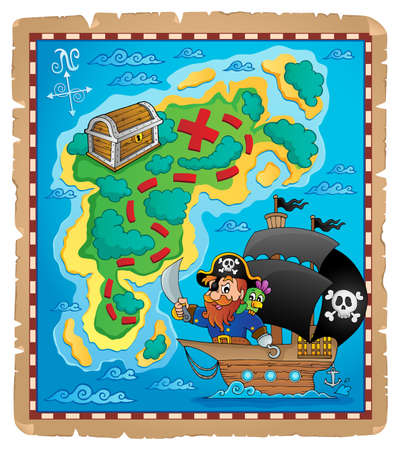 Pirate map theme image 1 - eps10 vector illustration  Vector