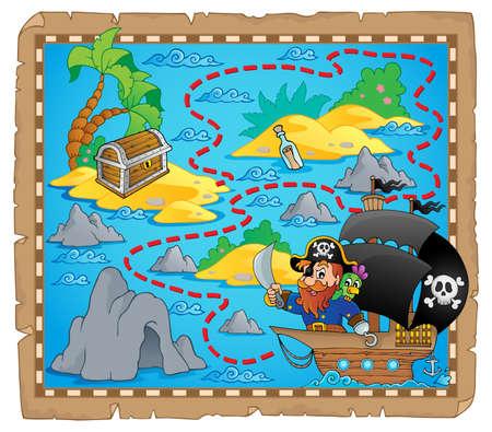 isla del tesoro: Mapa de pirata imagen Tema 3 - ilustración vectorial eps10 Vectores