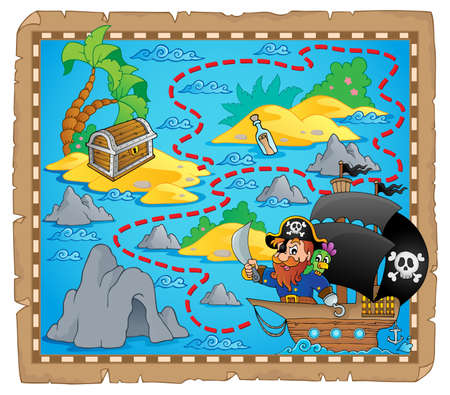 Pirate map theme image 3 - eps10 vector illustration  Illustration